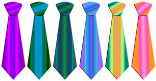 Colored neckties. Six neckties in different colors and patterns Royalty Free Stock Photo