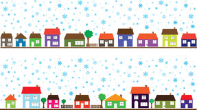 Colored neighborhood with snowflakes Stock Photography