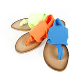 Colored neon flip-flops Royalty Free Stock Photos