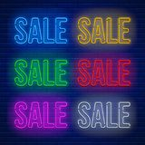 Neon colored signs set Royalty Free Stock Images