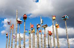 Colored nesting boxes on sky background, Iceland. Colored nesting boxes on natural blue sky background, Iceland Royalty Free Stock Image