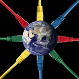 Colored Network Cables connected to the Earth Stock Photos