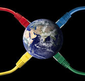 Colored Network Cables connected to the Earth Stock Photography