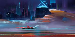 Colored nightly fantastic urban cyberpunk landscape with mountains Stock Images
