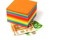 Colored notes paper set and banknotes euro Stock Photography