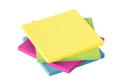 Colored notes on white background Stock Photo