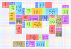 Colored Number Blocks. With Colors Background Royalty Free Stock Photo