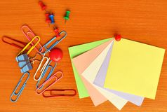 Colored office accessories Royalty Free Stock Photography