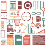 Colored office accessories collection of symbols Royalty Free Stock Images
