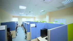 Colored office call center top view.  stock video footage