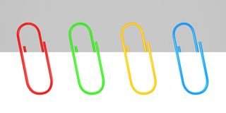 Colored office paper clips on white blank. 3d Stock Image