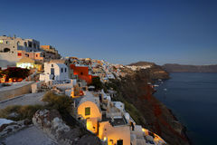 Colored Oia village at Santorini Greece , cyclades Stock Image