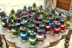 Colored oil lamps Royalty Free Stock Photography