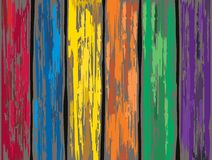 Colored old wooden fence background. Vector Royalty Free Stock Image