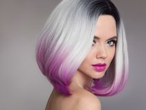 Free Colored Ombre Hair Extensions. Beauty Model Girl Blonde With Short Bob Purple Hairstyle Isolated On Gray Background. Closeup Stock Photo - 107951580