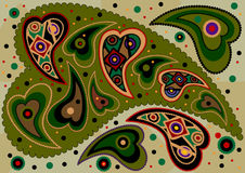 Colored oriental paisley on light green background Stock Image