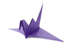 Colored origami crane isolated on white. Background stock photography