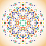 Colored ornamental ethnic floral pattern. Colorfull ethnic ornamental floral hand drown pattern. Orient mandala. Ethnic lace circular ornament Royalty Free Stock Photo