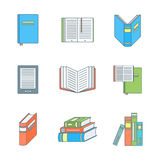 Colored outline books icons set Royalty Free Stock Photography