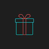 Colored outline gift box on black background Royalty Free Stock Images