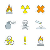Colored outline hazardous waste symbols warning signs icons. Vector colorful outline hazardous waste symbols warning signs icons white background Royalty Free Stock Images