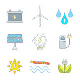 Colored outline recycle ecology energy icons Stock Image