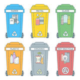 Colored outline separated garbage bins icons labels Royalty Free Stock Image