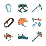 Colored outline various alpinism tools icons collection Royalty Free Stock Images