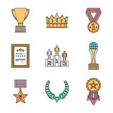 Colored outline various awards symbols icons collection Royalty Free Stock Photography