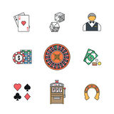 Colored outline various gambling icons collection Stock Photos