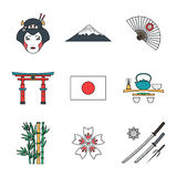 Colored outline various japan icons set Stock Photography