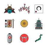 Colored outline various japanese icons set Stock Photos