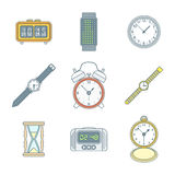 Colored outline various watches clocks icons set Stock Image