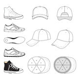 Colored outlined sneakers & baseball cap set Royalty Free Stock Photo
