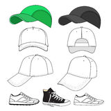Colored outlined sneakers & baseball cap set Royalty Free Stock Image