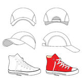 Colored outlined sneakers & baseball cap set Royalty Free Stock Images
