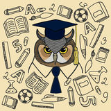 Colored owl on background painted school supplies. Vector colored owl on background painted school supplies Royalty Free Stock Photos