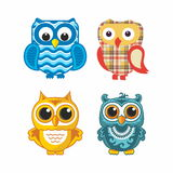 Colored owls Stock Images