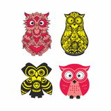 Colored owls Stock Photography
