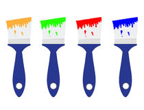 Colored paint brushes Stock Image