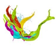 Colored paint splash, isolated on white background. Abstract colored paint splash, isolated on white background Stock Image