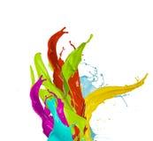 Colored paint splash, isolated on white background Royalty Free Stock Photo