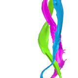 Colored paint splashes. Isolated on white background Stock Images