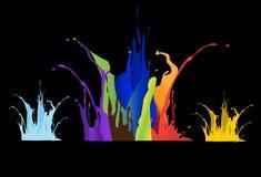Colored paint splashes on black background , illustrations Stock Image