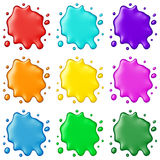 Colored paint splashes collection, isolated on white background. 3D rendering Stock Image