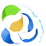 Colored paint splashes. Collection of colored paint splashes on white background Stock Images