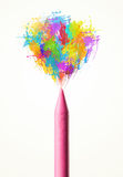 Colored paint splashes coming out of crayon Royalty Free Stock Images