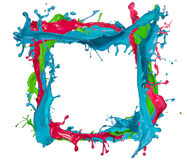 Colored paint splashes frame Royalty Free Stock Photos