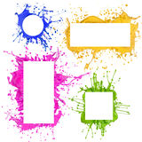 Colored paint splashes frames Stock Photography