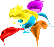 Colored paint splashes isolated on white background Royalty Free Stock Photos